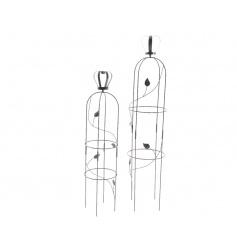 Set of 2 black obelisk with crown top and decorative filigree design.