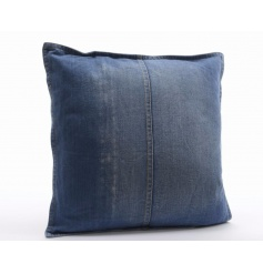 A stylish denim cushion with zipper. An on trend textile item for the home.