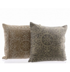 An assortment of two cotton cushions in pastel colours