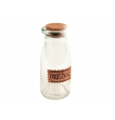 Vintage glass milk bottle with cork stopper and label