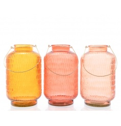 Large glass lanterns in an assortment of three pretty colours