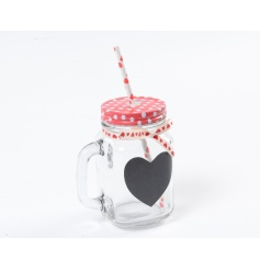 A unique mason style drinking glass with metal polka dot lid, ribbon and heart chalkboard.