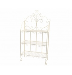 A gorgeous shabby chic display stand with decorative details and 3 shelves.