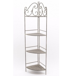 An elegant iron corner shelf unit with 4 shelves. Ideal for display and home decor.