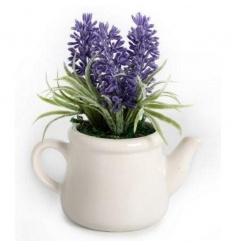 Ceramic teapot decoration with artificial lavender plant