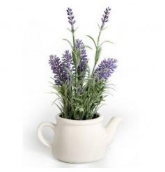 Ceramic tea pot decoration with artificial lavender plant