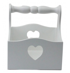 A classic white handled basket with heart cutouts