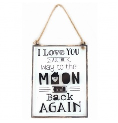 Rustic hanging plaque with popular text and design