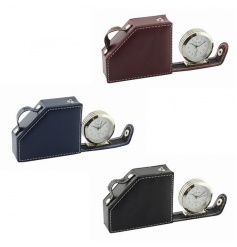 Stylish set of travel alarm clocks in leather cases
