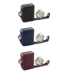 Stylish set of travel clocks in a leather case