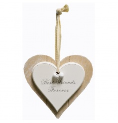 A double heart decoration with bells and Bestfriend text