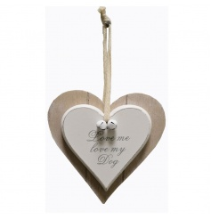 A double heart decoration with bells to finish