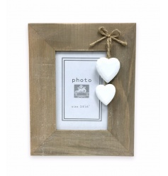 Wooden standing frame with hanging heart decorations