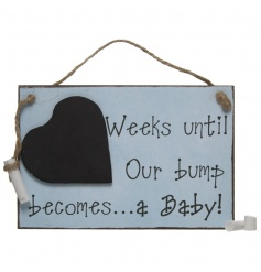 A fabulous pastel coloured wooden sign with heart chalkboard, perfect for counting bump to baby.