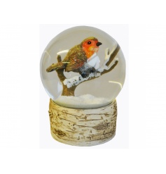 A wonderful winter robin snow globe with a faux bark base.