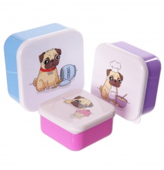 Cute lunch boxes in a set of three pug designs