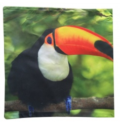 A bright and colourful cushion with Toucan design