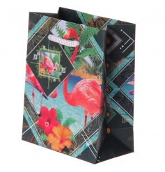 Colourful gift bag with a unique and flamboyant Flamingo design