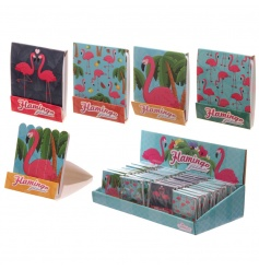 On trend and colourful flamingo design matchbook nail files in 4 assorted designs.