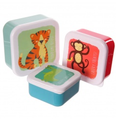 Set of three colourful lunch boxes with zoo designs