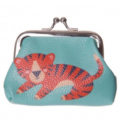 A cute and colourful coin purse with a tiger design.