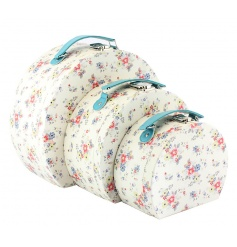 3 Vintage shaped travel cases with a summer daisy print and blue handle.