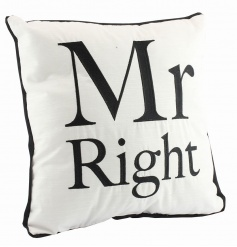 Fabric Mr Right cushion, a great gift for him