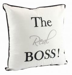 Fabric cushion with humorous Boss text