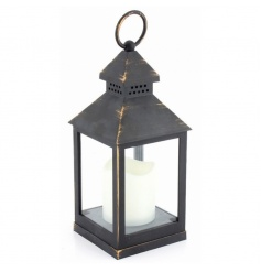 Distressed style gold lantern with LED flameless candle