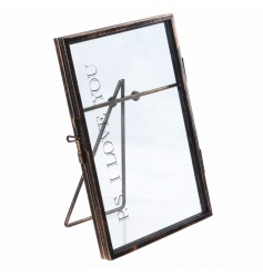 Metal standing picture frame with PS I Love You text