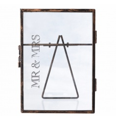 Decorative glass picture frame with Mr & Mrs text