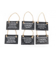 An assortment of 6 mini slate signs with Garden slogans