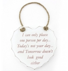 A light hearted chunky heart shaped plaque with Please One Person saying.
