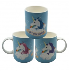 China mug with bright and colourful text and design