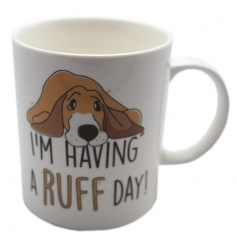 A humorous dog mug with text from the Jack Evans collection