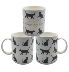 Cute cat china mug with I Love My Cat text