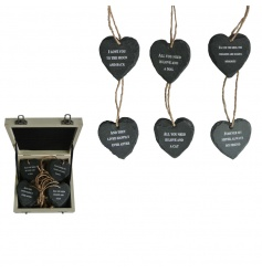 An assortment of mini slate heart decorations with an assortment of cute quotes