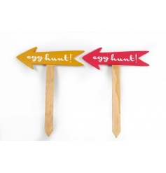 An assortment of two wooden stakes with Easter text