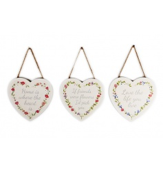 3 assorted pretty floral plaques with home, love and friend slogans.