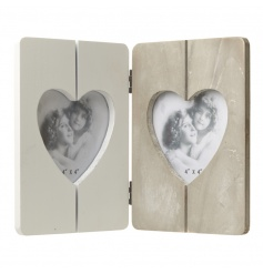 Folding heart picture frame in a natural wood