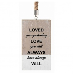 Hanging wooden sign with sweet Love text