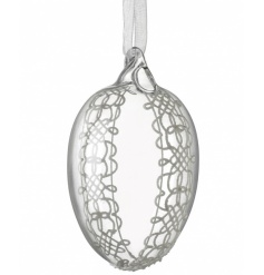 Hanging glass egg decoration with pretty lace design