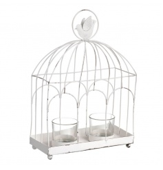 White birdcage with distressed style and double tlight holders inside
