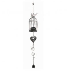 Birdcage style tlight holder with bird and metal hanger