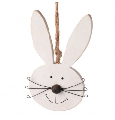 Wooden hanging rabbit face in a classic white colour