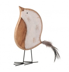 Shabby chic standing bird decoration with feather tail
