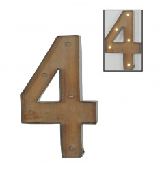 Decorative number 4 sign with pretty LED lights