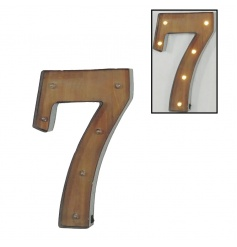 Decorative number 7 sign with LED lights