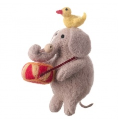 Adorable wool and felt elephant with a drum and yellow bird