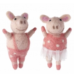 Cute Mr and Mrs piggy toys made from a soft wool